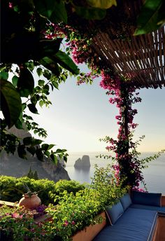 A perfect lazy Sunday destination . a beautiful home on the Island of Capri, Italy . what a view!Matteo Thun in Capri Places Around The World, Oh The Places You'll Go, Places To Travel, Places To Visit, Top Travel Destinations, Travel Things, Travel Stuff, Dream Vacations, Vacation Spots