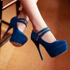 Fashion Round Closed Toe Zipper Design Stiletto High Heels Blue Leather Mary Jane Pumps