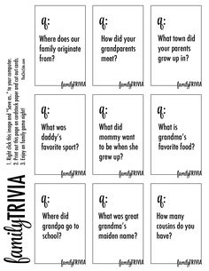 DIY Family Trivia Game ~ with Free Printable