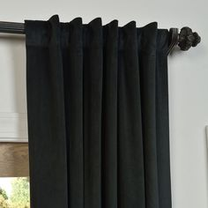 Curtains 1 Panel, Drapes And Blinds, Short Curtains, Black Curtains, Velvet Drapes, Curtain Patterns, Custom Drapes, Entertainment Room, Home Decor Outlet