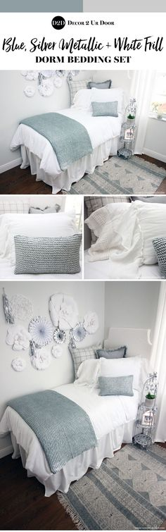 Metallics will never go out of style. This blue and silver metallic dorm bedding set is flashy yet minimalistic. We love the flowy-ness and stark white paired with a bit of subtle blue glitz and glam. Dorm Bedding Sets, Teen Bedding, Farmhouse Bedding Sets, Teen Room Makeover, Boho Dorm Room, Up House, Luxury Bedding, Boho Bedding, Designer