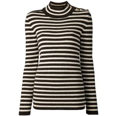 Bouchra Jarrar striped sweater ($930) ❤ liked on Polyvore featuring tops, sweaters, brown, studded sweater, striped turtleneck sweater, brown sweater, ribbed turtleneck and stripe sweater