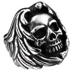 Rétro Hommes Acier Inoxydable 316 L argent clé de mécanicien crâne squelette biker ring