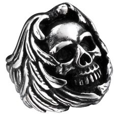 R&B Bijoux - Anneau Homme XL Crâne Squelette Style Gothique Collection Bad Ass - Acier Inoxydable - Bague 77mm (Argent, Noir): Amazon.fr: Bijoux