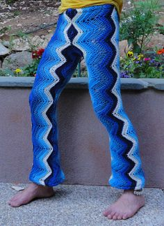 Deep Indigo Funky Crochet Afghan Pants 100% Recycled Small Size - AND these are actually for sale????