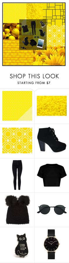 """""""Black with a pop of color"""" by vipicons ❤ liked on Polyvore featuring Preciosa, J Brand, Barneys New York, Ray-Ban and CLUSE"""