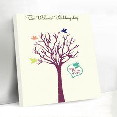 Love Birds Unique Fingerprint Tree Canvas Wedding Guest Book DIY Custom Initials Personalized Wedding Decoration Accessories