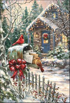 Cardinals at the Mailbox - Boxed Christmas Cards