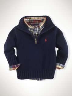 ec6ae4eb7 Toddler Clothing Stores Near Me. Boys Shirt And Trousers. Half-Zip Mockneck  Sweater - Infant Boys Sweaters - RalphLauren.com