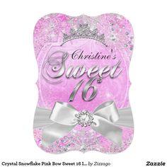 Crystal Snowflake Pink Bow Sweet 16 Invite