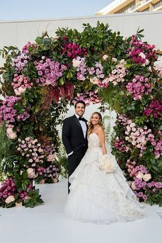 A Pnina Tornai Bride for a Super Luxe Colorful Jewish Wedding With a Show-Stopping Chuppah at The Beverly Hilton, Beverly Hills, California USA - Smashing the Glass Wedding Ceremony Ideas, Wedding Altars, Wedding Stage Decorations, Ceremony Arch, Star Wedding, Floral Wedding, Wedding Flowers, Wedding Dresses, Wedding Music