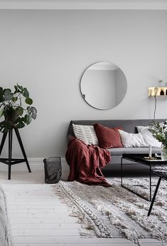 Find out why modern living room design is the way to go! A living room design to make any living room decor ideas be the brightest of them all. Grey And Red Living Room, Beige Living Rooms, Living Room Accents, Living Room Modern, Living Room Designs, Red Living Room Decor, Home Living, Apartment Living, Front Room Decor