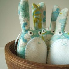 Lavender rabbit in turquoise and aqua blue by Pouch - $21.16
