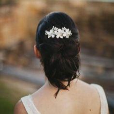 Pearl and Crystal Flower Vine Vintage Wedding Hair Comb