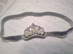princess headband, tiara headband, crown headband, rhinestone headband, valentines day,baptism headband, christening, girls headband,baby