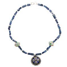 "Tuareg Halskette ""Bahar"" mit Lapislazu-Splittern. www.albena-shop.de Beaded Necklace, Shopping, Jewelry, Fashion, Moroccan Jewelry, Craft Items, Neck Chain, Silver, Beaded Collar"