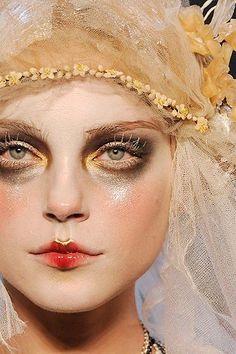 En Garde! High Fashion Features Avant Garde Makeup...dark eyeshadow White Mascara Ombre lip