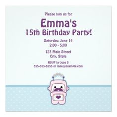 Cute, pink, Kawaii robot birthday party invitation. #invite #card #heart