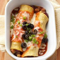 Using canned beans makes this low-fat recipe for enchiladas a snap to prepare. We chose kidney, garbanzo, pinto, and navy beans, but you can use any combination of beans that you like.