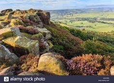 Baslow Edge. View to Baslow Village. Peak District National Park, Derbyshire UK