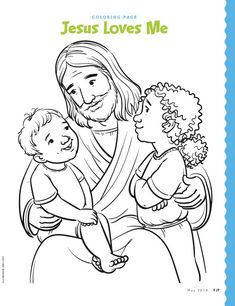 Jesus and two children coloring page