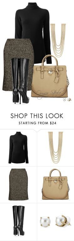 """""""Black & Beige"""" by orysa ❤ liked on Polyvore featuring The Row, Rosantica, Zac Posen, Michael Kors, Yves Saint Laurent and Stella & Dot"""