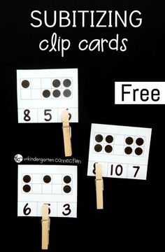 Subitizing Clip Cards for Number Sense Math Centers Build subitizing skills and number sense in your Pre-K or Kindergarten students with these fun and free printable subitizing clip cards! Number Sense Kindergarten, Kindergarten Freebies, Kindergarten Math Activities, Preschool Math, Teaching Math, Math Resources, Cardinality Kindergarten, Teaching Rules, Number Sense Activities