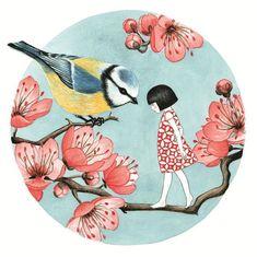 Illustrationen - Seng Soun Ratanavanh Más - Art and illustrations - Kunst Art And Illustration, Art Japonais, Art Graphique, Art Design, Bird Art, Japanese Art, Oeuvre D'art, Art Inspo, Art Paintings
