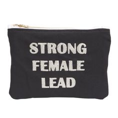 strong female lead actress metallic embroidered makeup bag