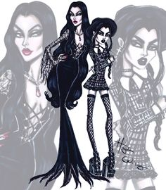 Morticia Addams & Wednesday Addams by Hayden Williams. #TheAddamsFamily #Halloween| Be Inspirational ❥|Mz. Manerz: Being well dressed is a beautiful form of confidence, happiness & politeness