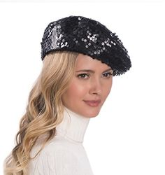 4b413a6083093 Hand sequined fabric beret will light up the night. Fully lined.  Elasticized inner band fits most. Made In USA of imported materials.