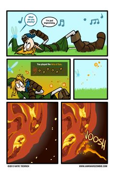 Link and Navi the fairy, playing a warped version of the Sun Song - The Legend of Zelda: Ocarina of Time; funny comic by Katie Tiedrich