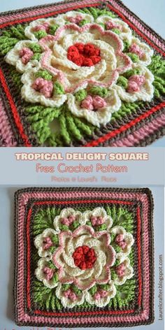 Tropical Delight – Crochet Square and Blanket [Free Pattern and Video Tutorial. - Tropical Delight – Crochet Square and Blanket [Free Pattern and Video Tutorial] – crochet - Crochet Motifs, Granny Square Crochet Pattern, Crochet Blocks, Crochet Flower Patterns, Crochet Afghans, Afghan Crochet Patterns, Crochet Squares, Crochet Flowers, Blanket Crochet