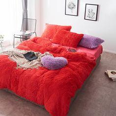Fluffy Velvet Fleece Quilt Cover Bed Set (4/6/7 pcs) - Watermellow