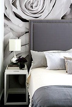 gray and off-white bedroom via House and Leisure