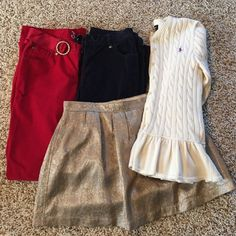 Holiday girls lot gap Ralph Lauren sz 14 large Perfect for the holidays girls kids 4 piece clothing lot gap and Ralph Lauren, Ralph Lauren like new cable knit peplum cardigan cream color sz large, gap girls velvet pants sz 14 one red with matching belt and one pair navy and one gap girls shimmer gold and grey brocade print skirt sz 14 all from pet and smoke free home Ralph Lauren Other