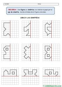 Figuras simetricas-Actividades Symmetry Worksheets, Symmetry Activities, Writing Practice Worksheets, Kindergarten Math Worksheets, Math Resources, Preschool Activities, Maths, First Grade Phonics, Math Charts