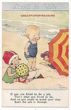 Twelvetrees-Such-is-Life-Comic-Children-Postcard-Life-Guard-Beach-Bathers