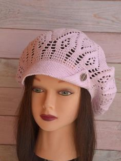ea7f1e7cf29 Crochet Oversize Cotton Brim Cap Beret with a visor Summer Slouchy Textured  Mesh Hat Knit Cap