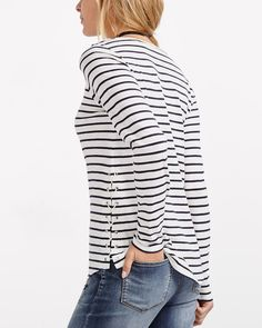 dc9e5a157d8 Shop online for Striped Lace-up Tee. Find T-Shirts