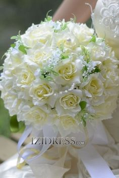 Elegant Hand-tied Satin Cotton Wedding Bouquet izipj817 - IZIDRESSES.com at IZIDRESS.com