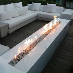A gorgeous long fire pit on the patio/backyard! Perfect for when you have guests over! A gorgeous long fire pit on the patio/backyard! Perfect for when you have guests over! Backyard Seating, Backyard Patio, Backyard Landscaping, Landscaping Ideas, Outdoor Seating, Outdoor Fire Table, Pergola Patio, Outdoor Lounge, Pool Lounge
