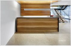 Metal and wood reception desk