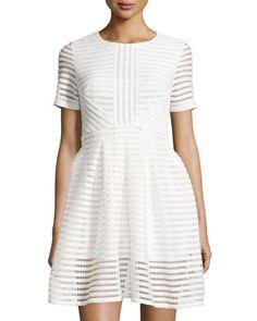 Francois+Striped-Mesh+Short-Sleeve+Dress,+White+by+Few+Moda+at+Neiman+Marcus+Last+Call.