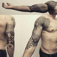 Super Tattoo Arm Men Geometric Geometry Ideen tattoo old school tattoo arm tattoo tattoo tattoos tattoo antebrazo arm sleeve tattoo Geometric Tattoos Men, Geometric Sleeve Tattoo, Tribal Tattoos, Geometric Tattoo On Back, Neue Tattoos, Body Art Tattoos, Sleeve Tattoos, Arm Tattoos, Arm Tattoo Men