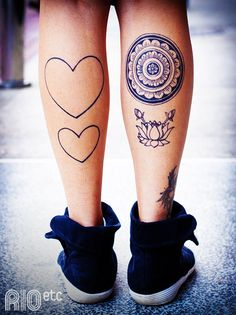 Calves Tattoo Designs - Hearts, Mandala, Flower