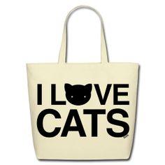 Cat vs Human. I Love Cats tote.