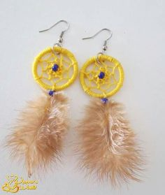#earrings #dreamcatcher #yellow #blue