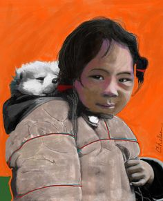 Inuit And Puppy Painting by Craig Nelson