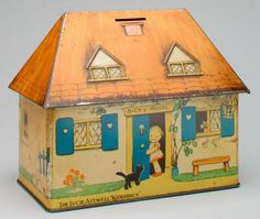 'Lucie Attwell's Bicky House' still bank, William Crawford & Sons ; Vintage Tins, Vintage Antiques, Tin House, Tin Containers, Old Toys, Old Things, Enamel Ware, Piggy Banks, Lipton